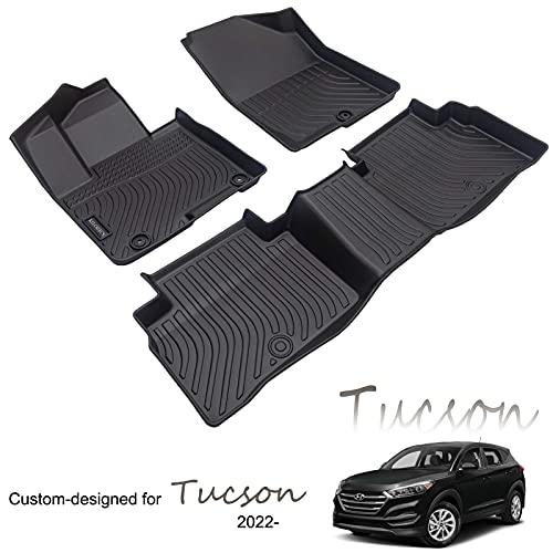 KELCSEECS Waterproof Car Mats for Hyundai Tucson 2022,All Weather Guard Easy to Clean Car Foot Mat Full Set TPE Black
