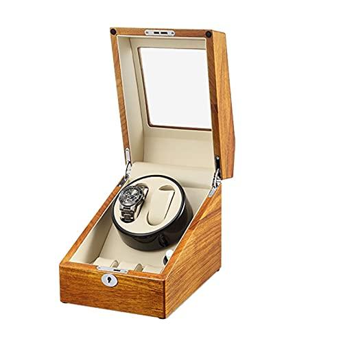 YZSHOUSE Caja de Relojes Automaticos Estuche para 2+ 3 Relojes 5 Velocidades Caja de Relojes Mecánicos Caja Bobinadora Puerta Delantera Transprente Mecanismo de Tensión de Resorte