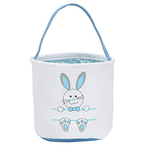 Easter Bunny Basket Egg Bags for Kids,Canvas Cotton Personalized Candy Egg Basket Rabbit  Print Buckets with Fluffy Tail Gifts Bags for Easter