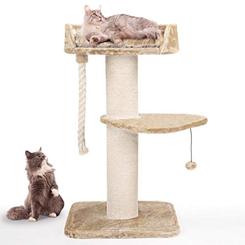 Happypet massiver Premium Kratzbaum, COMPACT Tower I, für große Katzen (Maine Coon), 8mm Sisal, 17 cm Säulen, 120 cm Hoch, Creme