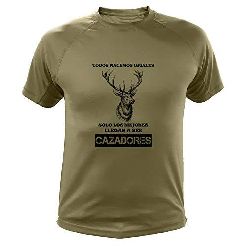 AtooDog Camisetas Personalizadas de Caza, Todos nacemos Iguales, Ciervo - Ideas Regalos (30129, Verde, XL)