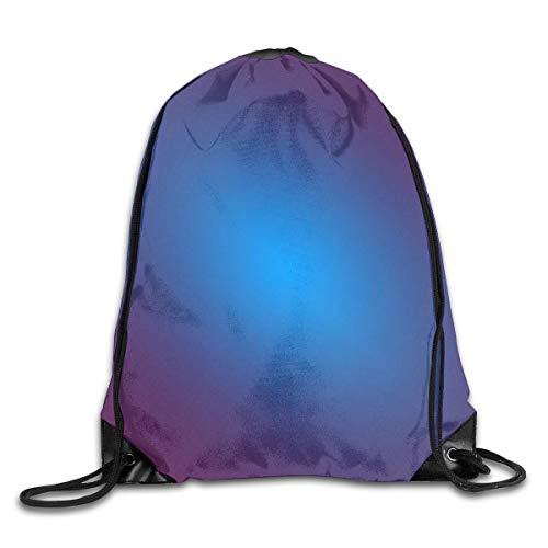 Lawenp Solid Color Matte Gradient Blue Background Drawstring Bag, Sports Cinch Sacks String Drawstring Backpack for Picnic Gym Sport Beach Yoga