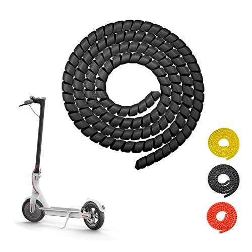 Tinke Brake Spiral Tube Protezione per cavo Coperchio per Scooter Linea spirale Spirale Cambia Colore Protezione per Tubo 1M Lunghezza Cavo a spirale per Xiaomi M365 / Pro - Negro
