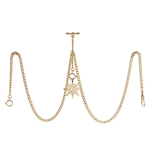 TREEWETO Taschenuhrkette mit T Bar Endstück Gesamtlänge 72cm Doppel Albert T-Bar Taschenuhr Kette mit Antiker Ruder Anhänger und 3 Haken für Weste Knopfloch Gold