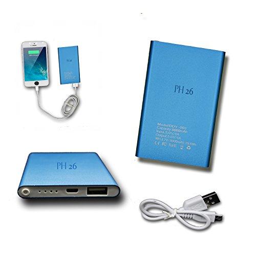 Batteria USB Esterna di Emergenza 8000 mAh con LED (Cavo Incluso) Power Bank Output Intelligent Quick Charge per Archos 55 Platinum by PH26