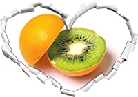 KAIASH 3Dウォールステッカーオレンジキウイフルーツフルーツフルーツハート型の3Dルック壁またはドアステッカー壁ステッカー壁デカール壁装飾92x64cm