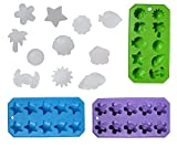 Chef Craft Set of 3 Flexible Shaped Ice Cube Trays. Sun, Star, Flower, Tree and Sealife. Fun Party Combo, Silver