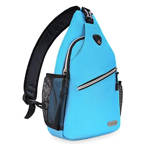 MOSISO Sling Backpack, Multipurpose Crossbody Shoulder Bag Travel Hiking Daypack, Sky Blue