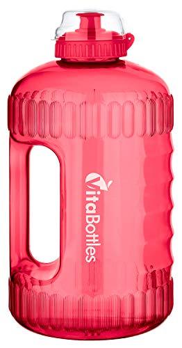 VitaBottles Gym Bottle Fitness Trinkflasche 2.2 Liter 2200ml XXL BPA-frei DHEP-frei rot/rosa Sport Water Jug Wasserkanister Water Gallon/Empfohlene Trinkmenge über den Tag