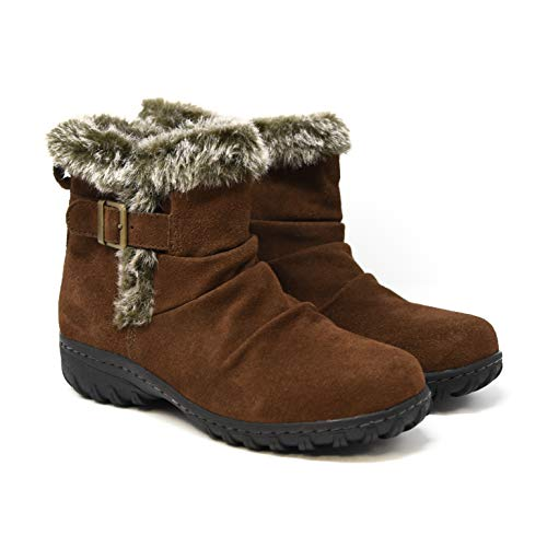 Khombu Women's All-Weather Lindsey Buckle Suede Boots (8, Brown)