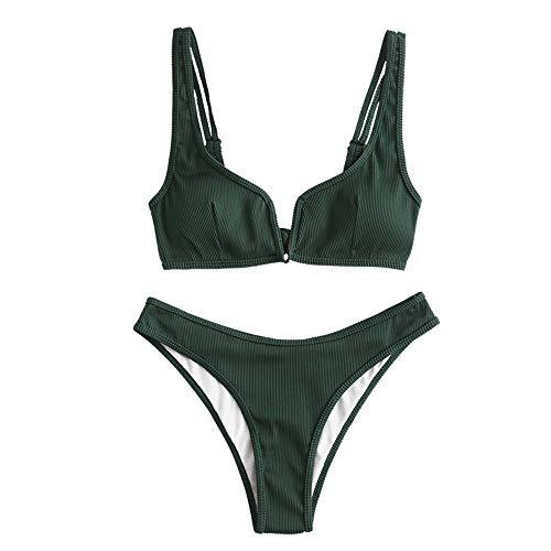 Zaful - Bikini da donna, set di 2 pezzi, costume da bagno sexy con slip sgambato Verde foresta L