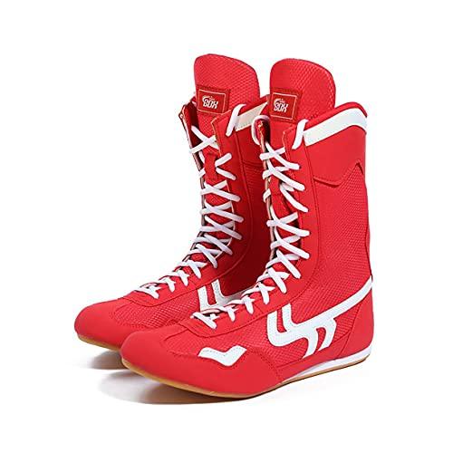 WJFGGXHK Herren Box-Schuhe, Professionelle Wrestling-Stiefel Atmungsaktiv rutschfeste High-Top-Gewichtheben-Trainingsschuhe Für Unisex,Rot,43