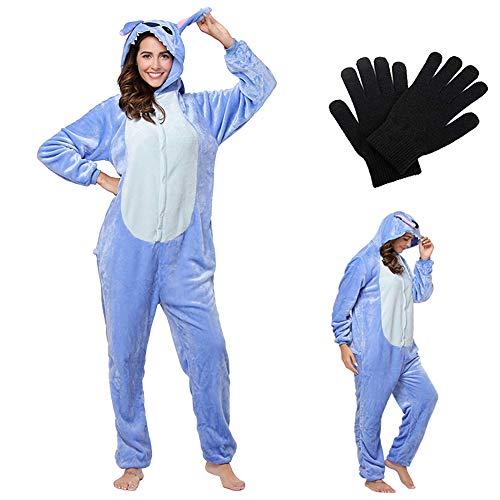Pijamas Disfraces Onesie Animal Adultos Kigurumi Carnaval Halloween Fiesta Espectáculo Navideño Mono Cosplay Ropa Interior Unisex Mujeres y Hombres con Guantes Stitch BLU M