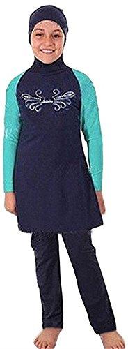nadamuSun Moslim Badmode voor Kid Meisjes Kinderen Bescheiden Islamitische Hijab Badpakken Burkini - blauw - L
