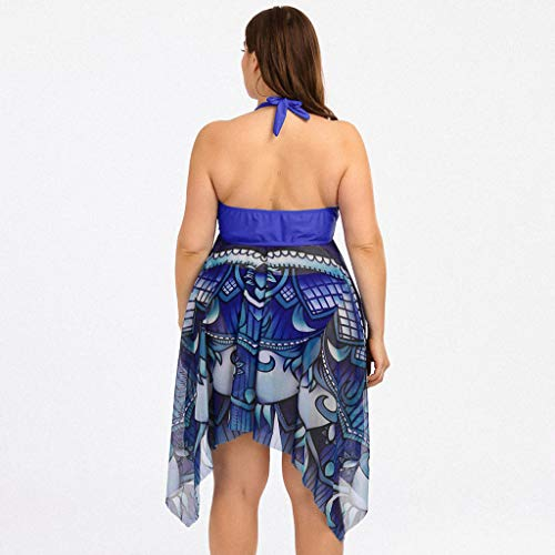 KPILP Womens Swimwear Plus Size Two Piece Bikini High Waisted Swimsuit Swimdress Summer Beachwear Swim Trunks and Bathing Suit Set Ladies Plus Size Swimming Costume(Blue,XXL)
