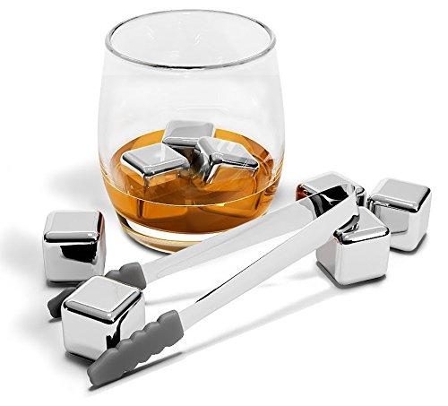 Whisky Steine, Wiederverwendbare Edelstahl Eiswürfel Set + Zange + Stoffbeutel   8 Metall Kühlsteine, Premium Bar Zubehör für alle Getränke, Cocktail Gin Whiskey   Geburtstag Geschenk Mann & Frau - 2