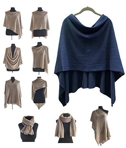 Poncho de cachemir para mujer, bufanda de viaje, chal con botones, de punto, pashmina, portátil, ligera, multisentido, 100% puro, regalo ético, azul marino, azul oscuro