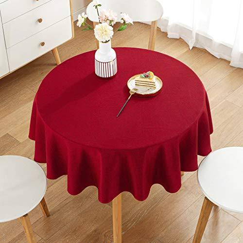 Pahajim Tischdecke Baumwolle Leinen Einfacher Stil Tischwäsche Tischläufer Home Küche Dekoration (Rot, Runde, 135 x 135 cm, 4 sitzes)