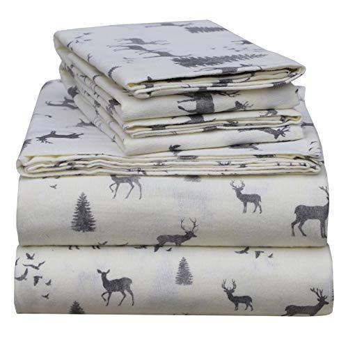 EnvioHome 160 GSM Durable Cotton Winter Flannel Sheet Set - 4 Pc - Queen, Flannel Deer