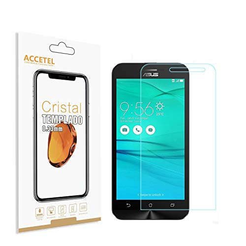 Accetel Protector de Pantalla Compatible con ASUS ZenFone Go ZB500KL Protector Cristal Vidrio Templado para ASUS ZenFone Go ZB500KL 5.0'' Pulgadas Transparente 3-Pack