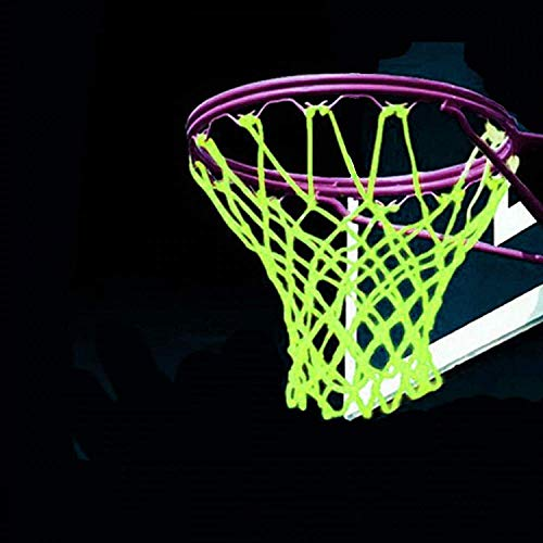 LEADTEAM Nightlight Basketball Net Luminous Outdoor Portable Sun Powered Sports Nylon (Green)