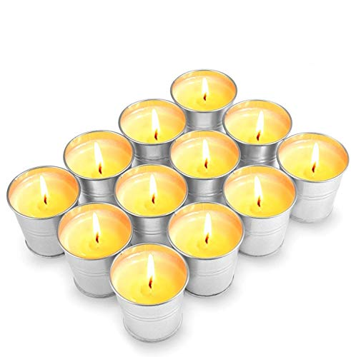 Aottom Citronella Candles Outdoors, 12 Pack Natural Soy Wax Citronella Lemon Candles, 120-180 Burning Hours Portable Soy Tealight Candles for Garden,Travel, Camping, Party, Patio,Yoga