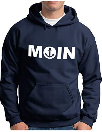 OM3® - Moin mit Anker Hoodie - Herren - Slogan Spruch - Kapuzen-Pullover Navy, 3XL