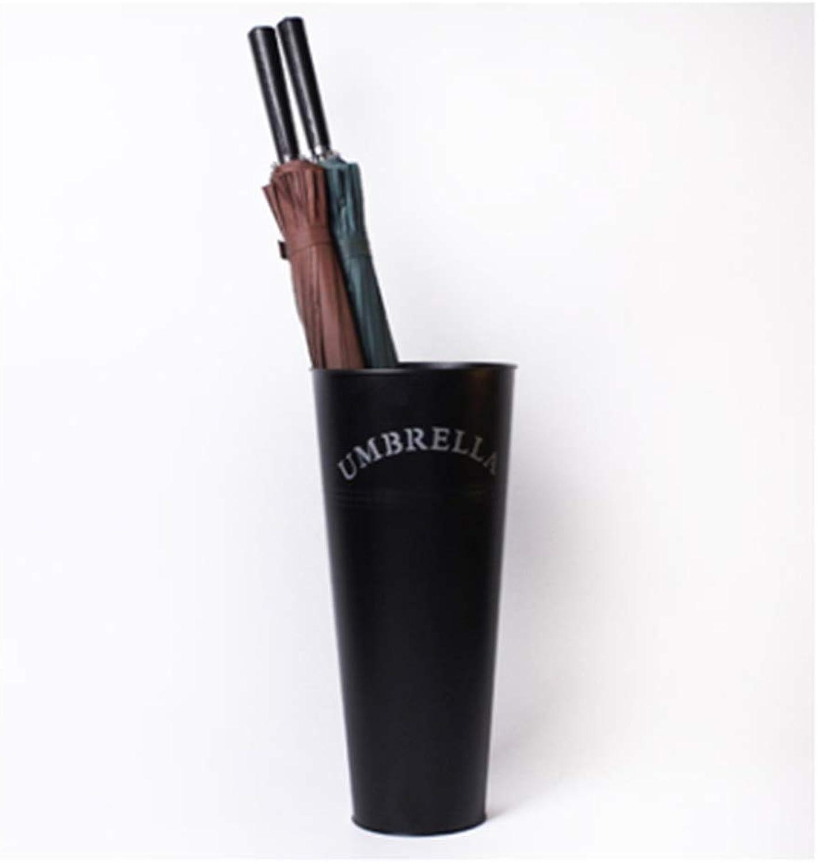 HongTeng Creative Moisture-Proof Wrought Iron Umbrella Storage Bucket Home Fashion Bright Conical Umbrella Stand (color   Black)