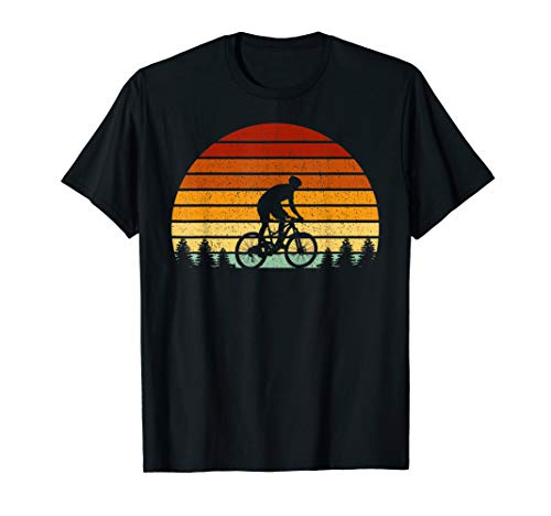Vintage Sunset Mountain Biking Gift For Mountain Bikers T-Shirt