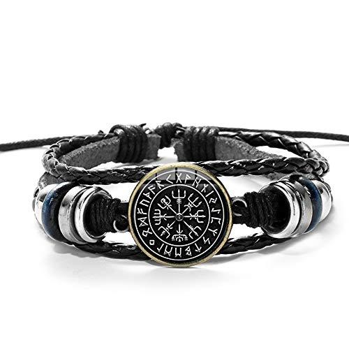 YMXCNM Pulsera Cuero Hombre - Vintage Viking Compass Pulsera De Cuero Hombres Mujeres Runas Nórdicas Odin Símbolo Impreso Vidrio Tiempo Gema Encanto Pulseras Brazaletes, como Se Muestra F