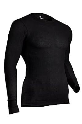 Indera Men's Traditional Long Johns Thermal Underwear Top, Black, Large