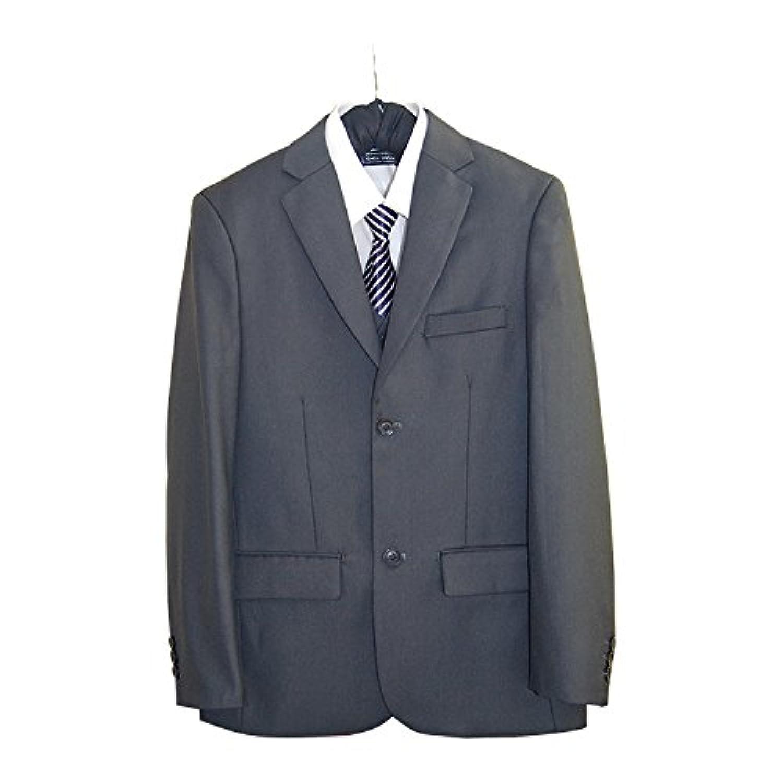 MINEKA 男の子スーツ 子供5点セット 子供服 2ボタン グレー 無地 紳士服 卒業式 七五三 誕生日 010356 150~165CM