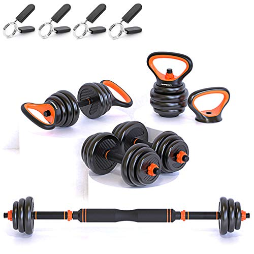 Gintonique Adjustable Dumbbells, Dumbbell Set, Free Weights Dumbbells Set of 2, Kettlebell, Barbell, Push-up Set, Home Work Out for Men and Women. Total Weight Up to 44LB