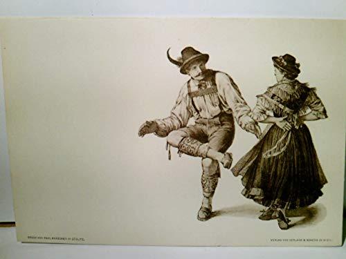Paul Knäbchen in Zöblitz. Künstler Litho / AK s/w. Verlag Gerlach & Schenk in Wien No 30. Tanzendes Paar in Tracht, ca 1900 ungel. Brauchtum, Trachten, Tanz, Kunst