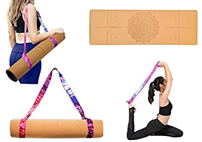 """Premium Cork Yoga Mat 72 """"x24"""" x5mm-Eco Friendly-Sweat Absorbent Non-Toxic- No Smell-Slip Resistant Grip- Multifunctional Strap for yoga, Pilates, Gym and Fitness-Durable-Portable"""