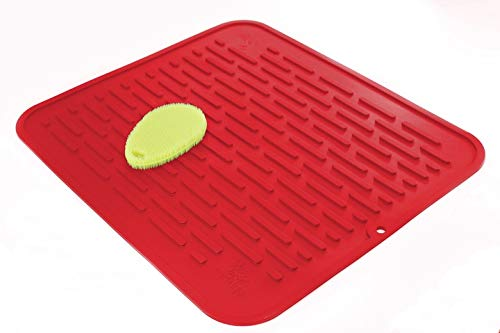 Red Extra-Large Silicone Dish-Drying Mat & High-Heat Resistant Trivet With BONUS Silicone Scrubby | Antimicrobial, Antibacterial | 17.8 x 15.8 inch