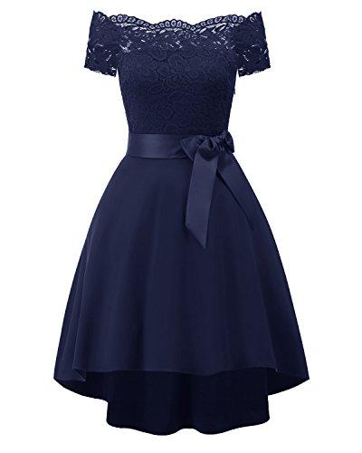 Laorchid Damen Kleider elegant Spitzenkleid Knielang a Linie Sommerkleid für Hochzeit 1950er Vintage Retro cocktailkleid Rockabilly Navy S