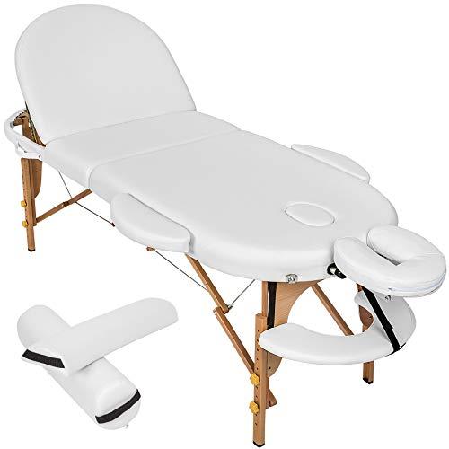 TecTake Massageliege 3 Zonen oval inkl. 2 Lagerungsrollen + Tasche - diverse Farben - (Weiß | Nr. 400194)