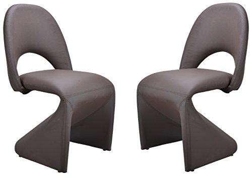 Homexperts Schwingstuhl 2-er Set LOGAN / 2x gepolsterte Esszimmerstühle  in modernem Design / Bezug Kunstleder Dunkelbraun / 52 x 89 x 55 cm (B x H x T)