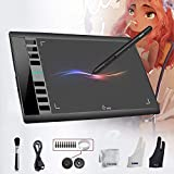UGEE M708 Graphics Tablet Digital Drawing Tablet 10 x 6 inch Large Working Area Digital Tablet with 8192 Level Pressure Sensitive Battery-Free Pen 8 Shortcut Keys Compatible with Windows/Mac OS