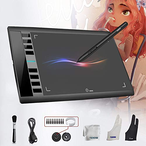UGEE M708 Graphics Tablet Digital Drawing Tablet 10 x 6 inch Large Working Area Digital Tablet with 8192 Level Pressure Sensitive Battery-Free Pen 8 Shortcut Keys Compatible with Windows Mac OS