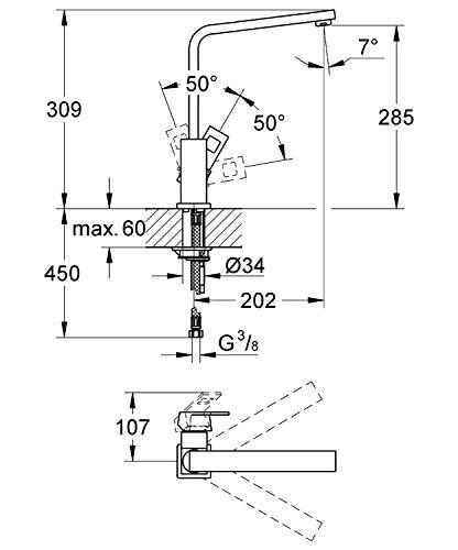 Grohe – Eurocube Küchenarmatur, Schwenkbereich 360°, hoher Auslauf, Chrom - 2