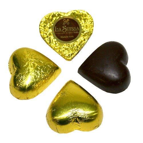 Cioccolatini Cuori Gianduia Gialli La Suissa g 500 - Praline di Cioccolato Fondente Ripieni di Morbida Crema Gianduia - Senza Glutine