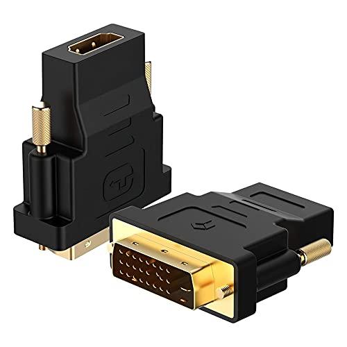 Libarty Adaptador Compatible con 1080P DVI a HDMI a convertidor Adaptador DVI Macho a Compatible con HDMI Convertidor de Puerto DVI-D bidireccional
