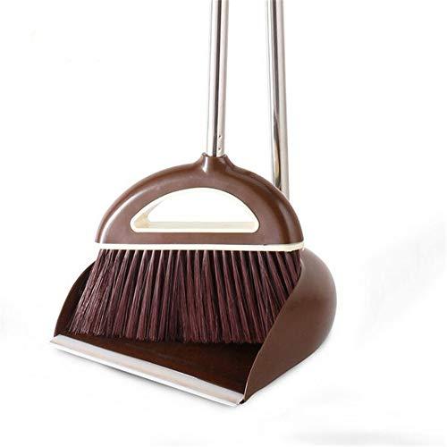 SFBBAO Besen rutschfeste Griff Clean Sweep Der Boden Besen Anzug Edelstahl Superfeine Faser Besen Set Haushaltsreinigungswerkzeug 80 * 26cm Schokolade