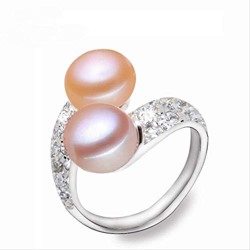 WTPUNGB Echte verstellbare 925 Sterling Doppelperlenring für Frauen Multi Weiß Natürliche Süßwasser Perlenringe Schmuck Größenänderung Mehrfarbig