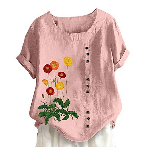 YANFANG Tops Sueltos De La Camisa ImpresióN Flor Manga Corta del Cuello Redondo Ocasional Verano Las Mujeres,Camisetas Estampadas para Mujer Blusa TúNica Blusas,Rosa,Amarillo,Blanco