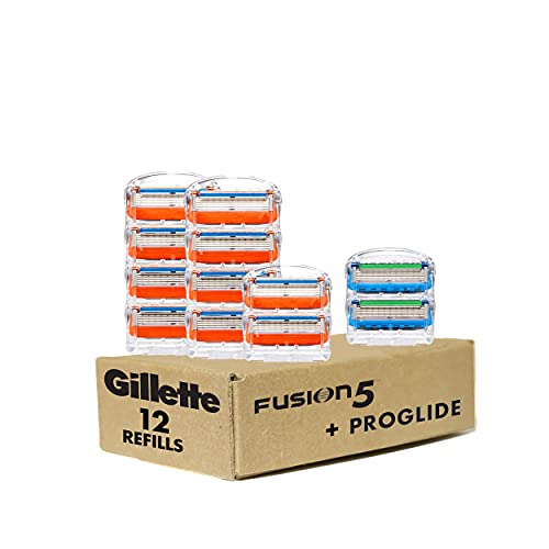 Gillette Fusion5 Men's Razor Blade Refills, 10 Count + Fusion5 ProGlide Razor Blade Refills - 2 Count   One Pack of 12 Refills