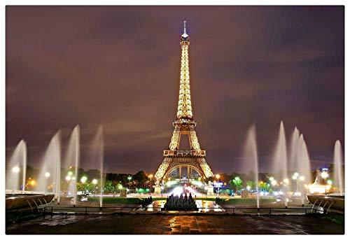 TWYYDP Madera Puzzle 1000 Piezas Adultos,Vista Nocturna De Las Luces De La Torre Eiffel, Familiares Y Amigos.