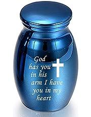 Phoetya Kleine Crematie Keepsake Urnen voor Menselijke Ashes Mini Crematie Urn Kleine Begrafenis Urnen voor Ashes Legering Crematie Begrafenis Urn, 25 * 16 mm (Blauw - 15)